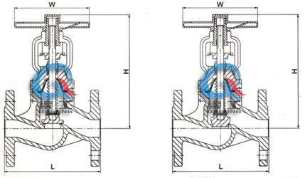 WJ41H波纹管截止阀 (外形尺寸图)