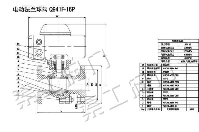 电动球阀结构图